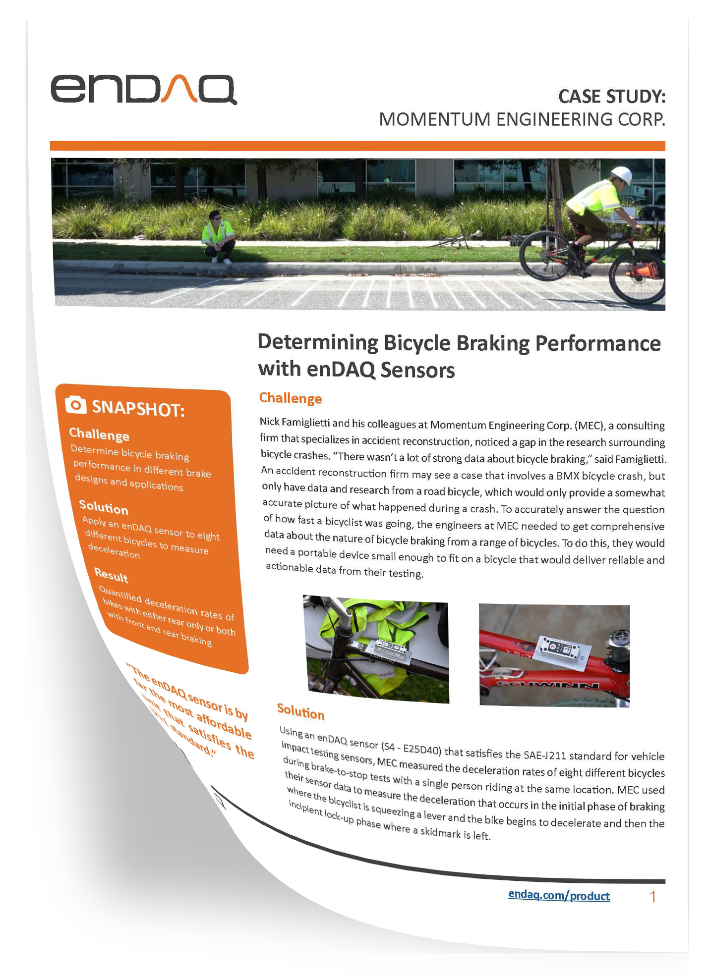 enDAQ Momentum Engineering Corp. Bicycle Brake Case Study